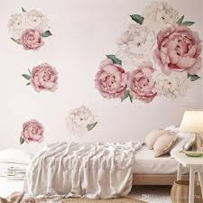 Large Peony Flowers Wall Sticker Vinyl Self Adhesive Flora Wall Art Watercolor For Living Room Bedroom Home Decor Wall Decal Tree Wall Decal Vinyl From Yxw104187786 3 52 Dhgate Com