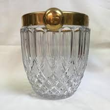 cristal tall round clear ice bucket gold r