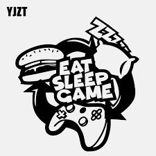 Yjzt 13 1cm 14 3cm Eat Sleep Game Decal Gaming Gamer Gift Vinyl Black Silver Car Sticker C22 0294 Car Stickers Aliexpress