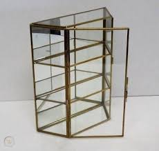 glass brass mirror small curio knick