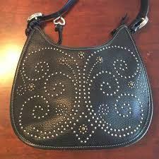 black studded leather purse