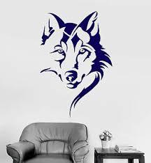 Vinyl Wall Decal Wolf Head Animal Tribal Art Room Decor Stickers Ig4146 Ebay