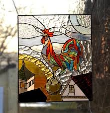 rooster stained glass panel tiffany