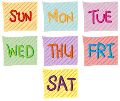 Seven days of the week - Download Free Vectors, Clipart Graphics ...