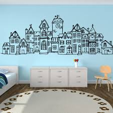 Large Scandinavian Style Cute Village City Wall Sticker Bedroom Sofa Nordic Scandi Town Wall Decal Living Room Nursery Vinyl Art Wall Stickers Aliexpress
