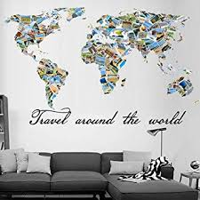 Amazon Com World Map Wall Art Patchwork Map Decals Travel Map Stickers Removable Around The World Wall Decorations For Kids Rooms Living Room Baby