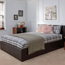 double ottoman bed brown faux leather