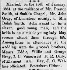 Wedding announcement of John Wade Gray and Beulah Smith ...