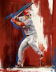 Mike Trout By Robert Bruno Mike Trout Trout Art Angels Baseball