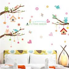 Cartoon Bird House Tree Wall Stickers Large Animals Decals Kids Room Decor Nursery Bedroom Vinyl Art Removable Wall Posters Wall Stickers Aliexpress