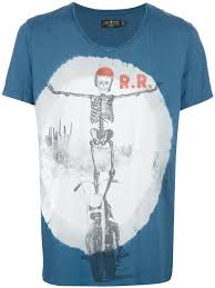 rude riders print tshirt in blue for