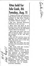 Cook, Ada - Big Horn County Obituaries - Montana Memory Project