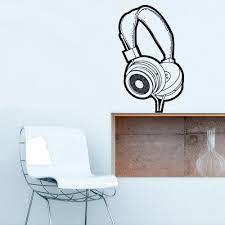 Wall Decal Vinyl Decal Sticker Headphones Music Notes Beats Audio Art Stickersforlife