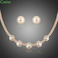 pearl flower necklace earrings bridal