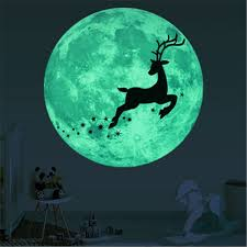 Super Deal 17ca5f Christmas 3d Luminous Moon Deer Wall Sticker For Kids Rooms Glow In The Dark Bedroom Wall Sticker Christmas Decorations For Home Cicig Co