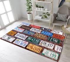 Retro Car License Plate Home Area Rugs Kids Play Room Carpet Modern Floor Mat Ebay