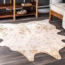 nuloom iraida faux cowhide shaped rug