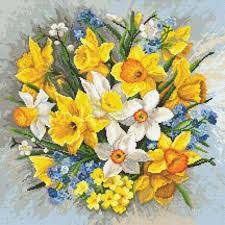 Předtištěná aida - Jarní květiny