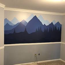 Mountain Wall Decal Forest Mural Nursery Wall Decor Etsy
