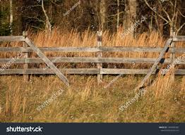 Fourrail Wooden Fence Top Rail Broken Parks Outdoor Stock Image 1045982392