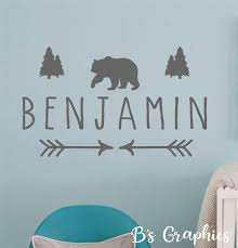 Woodland Animal Name Vinyl Wall Decal Custom Name With Bear Etsy Vinyl Wall Decals Nursery Name Wall Decals