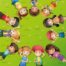 تصاميم اطفال مجموعة اطفال على شكل اطار دائري ملف مفتوح