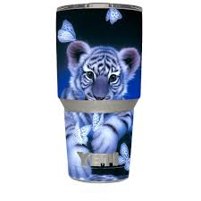 Skin Decal For Yeti 30 Oz Rambler Tumbler Cute White Tiger Cub Butterflies Itsaskin Com