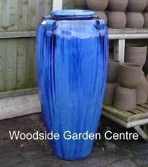 large tall blue glazed temple jar decor