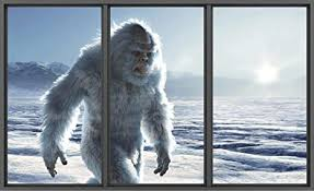 Amazon Com Window Scape Yeti 3d Window Wall Decal Bigfoot Abominable Snowman Sasquatch Himalayan Mountains Mythical Wall Sticker Removable Fabric Vinyl Wall Art Decor Metal 36 W X 22 Tall Arts Crafts