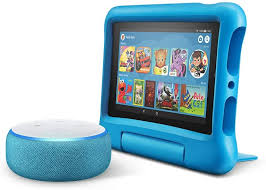 Amazon Com All New Echo Dot Kids Edition Blue With Fire 7 Kids Edition Tablet Blue Amazon Devices
