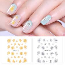 Lemooc Nail Transfer Sticker 1 Sheet Gold Silver Designs Water Decal Nail Art Decoration For Watermark Stickers Decals Aliexpress