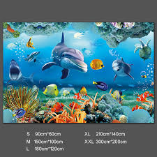 Ocean Wall Decals Shark Self Adhesive 3d Pvc Home Decor