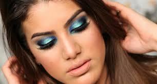 makeup illuminated blue green eye make