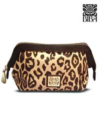 leopard print leather cosmetic bag