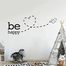 Be Happy Wall Sticker Cute Flying Bird Love Heart Wall Decal For Nursery Room Kids Bedroom Wall Decals Cute Removable Pvc Wall Stickers In 2020 Kids Bedroom Wall Decals Heart Wall