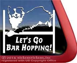 Bar Hopping Australian Shepherd Agility Dog Decals Stickers Nickerstickers