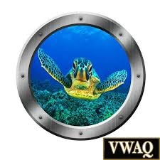 Sea Turtle Porthole Wall Decal Ocean View 3d Window Sticker Etsy Porthole Wall Decal Turtle Homes Sea Turtle Art