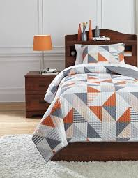 layne gray and orange full coverlet set