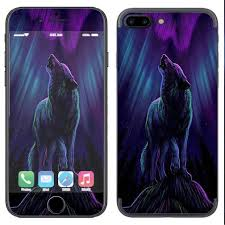 Skin Decal Vinyl Wrap For Apple Iphone 7 Plus Or 8 Plus Wolf In Glowing Purple Background Itsaskin Com