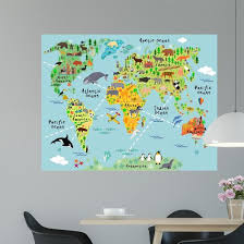 Cartoon World Map Wall Decal Wallmonkeys Com