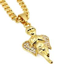 bling gold angel boy pendant necklace