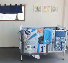 crib bedding set uni baseball blue