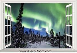 3d Alaska Denali National Park Aurora Boreal Snow Window Wall Sticker Art Decal Idcch Ls 002786 Sticker Wall Art Aurora Boreal Denali National Park