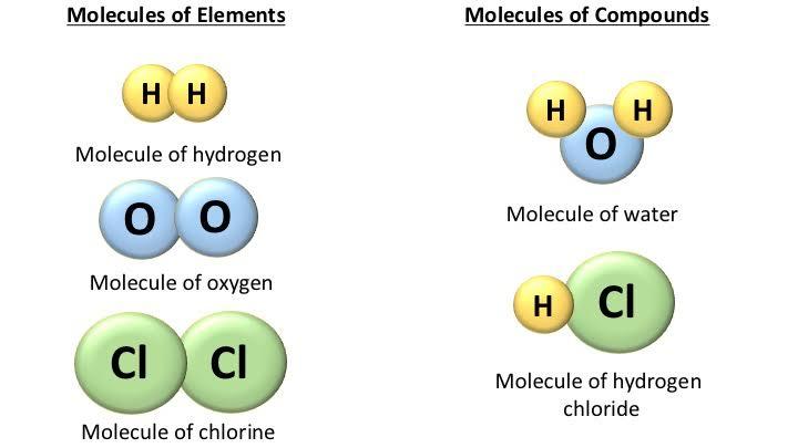 "Image result for molecule vs compound"""