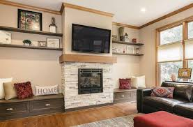 stone fireplace and built in benches