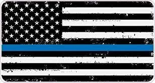 White And Blue American Flag Sticker For Cars And Trucks And Coolers Supporting Police And Law Enforcement Officers Thin Blue Line Flag Decal Large Size 23 5 X 13 Black Skins Decals