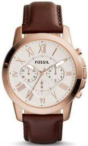 fossil grant chronograph brown leather