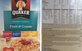quaker oatmeal s fake fruit ings
