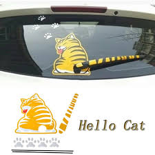 Motors Funny Car Rear Sticker Garfield Cat Wagging Tail Rear Window Wiper Vinyl Decal Car Truck Graphics Decals