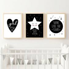Black White Canvas Poster Nursery Wall Art Print Baby Kids Bedroom Decoration Ebay